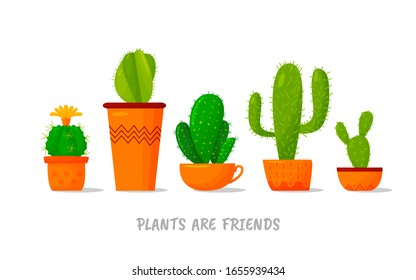 set of five illustrations of cute cartoon cactus in pots of different shapes and with plants are friends text message. Vector for cards, invitations, sticker, banner