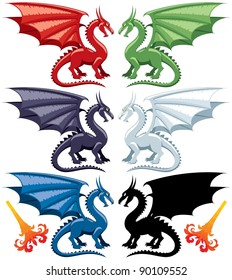 Set of the five most popular kinds of dragons: red, green, blue, black and white. Stylized flames are also included, in case you want to make them breathe fire.