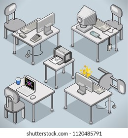 Set of five office desks with ancient and modern computers, laptop, printer and office supplies (isometric vector illustration)