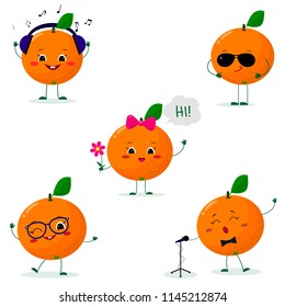 A set of five oranges  in a cartoon style. In headphones, in sunglasses, dancing in glasses , with a flower, singing into the microphone. Flat, vector.
