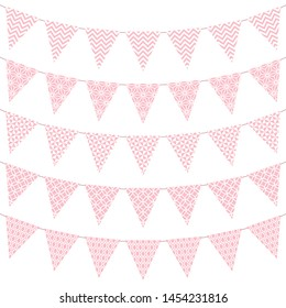 Set Of Five Pennants With Pattern Pink And White