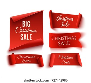 Set of five red, Christmas Sale, realistic, paper banners. Vector illustration.