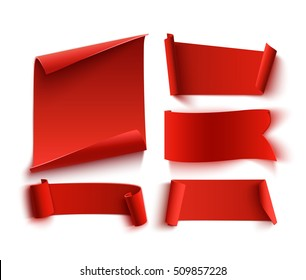 Set of five red, realistic, paper banners. Vector illustration.