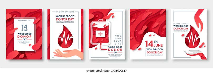 Set of five red themed vector poster designs for 14th June World Blood Donor Day with text and blood with corpuscles, in a transfusion bag and a droplet with heartbeat