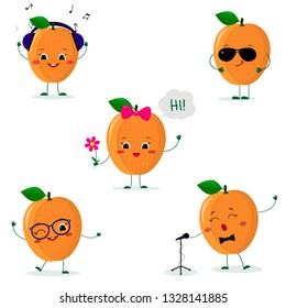 A set of five ripe apricot Smiley in a cartoon style. In headphones, in sunglasses, dancing in glasses , with a flower, singing into the microphone. Flat, Vector illustration.