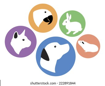 Set of five round vector pet animal icons - dog, cat, rabbit, parrot, and guinea pig. Colors are editable.