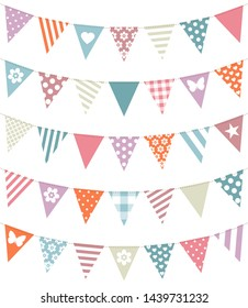 Set Of Five Seamless Garlands With Different Pattern Retro Colors