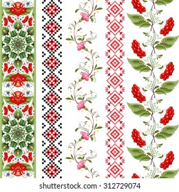 Set of five seamless vector borders in style of Petrykivka painting. Ukrainian pattern similar to embroidery.