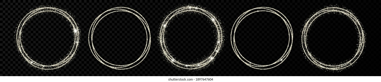 Set of five silver circle frames. Modern shiny frame with light effects isolated on dark transparent background. Vector illustration.