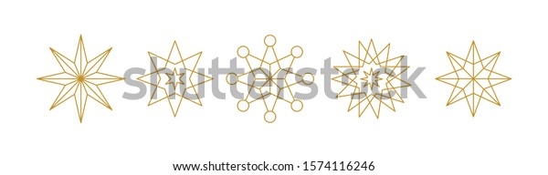 set of five stars - geometric line icons for christmas party invitation, decoration, festive texture isolated vector set