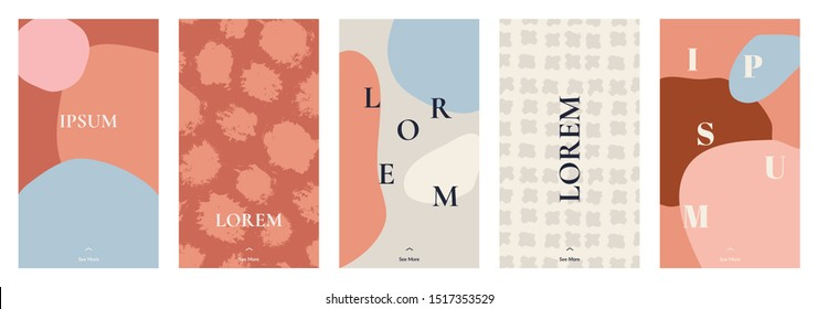 A set of five stories templates with hand painted abstract textures and shapes in pastel pink, brown, orange and cream. Trendy contemporary collage style flyer, card, brochure, social media post.