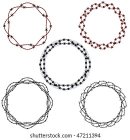 Set of five tattoo inspired wreaths or frames