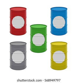 Set of five vector color barrels isolated on white background. Drums collection. Great for power industry design.