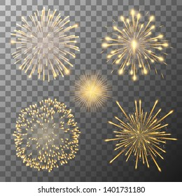 Set of five vector fireworks bursting in various shapes. Firework explosion in night. Firecracker rockets bursting in big sparkling star balls