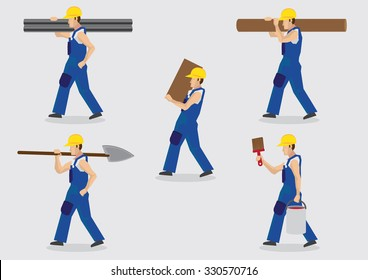 Set of five vector illustrations of cartoon construction worker character carrying tools and building materials on shoulders isolated on plain background.