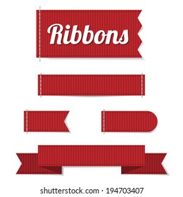 Set of five vector ribbon labels in red