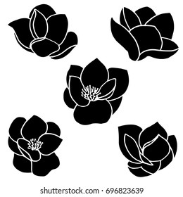Set of five vector silhouettes of hand drawn magnolia flowers isolated on white background. Vector illustration.for wedding invitations and greeting cards