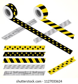 Set of five washi tapes; black, yellow and gray with hearts, stars, dots and lines (plain top view and isometric view with rolls)