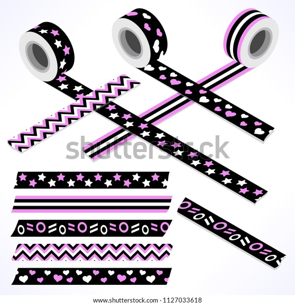 Set of five washi tapes; black, pink and white with hearts, stars, dots and lines (plain top view and isometric view with rolls)