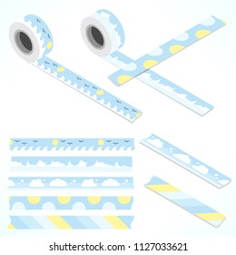 Set of five washi tapes; blue, yellow and white with clouds, waves, ships, dots and lines (plain top view and isometric view with rolls)