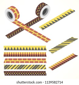 Set of five washi tapes; brown, yellow and gray with squares, spikes, dots and lines (plain top view and isometric view with rolls)
