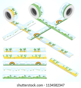 Set of five washi tapes: caribbean island, rainbow and rainy clouds, snow landscape, blooming meadow and desert with cactus (plain top view and isometric view with rolls)