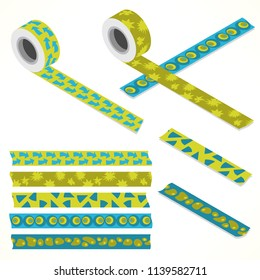 Set of five washi tapes; green tones and turquoise, with arrows, triangles and free form ornaments (plain top view and isometric view with rolls)