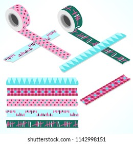 Set of five washi tapes; green, blue and pink tones with spikes, dots and lines (plain top view and isometric view with rolls)