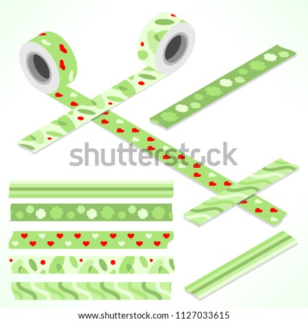 Set of five washi tapes; green and red with leaves, hearts and four-leaved clover (plain top view and isometric view with rolls)