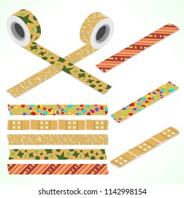 Set of five washi tapes on packaging paper; red, green and white with stars, raindrops, adhesive tape, dots and lines (plain top view and isometric view with rolls)