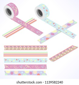 Set of five washi tapes; pastel color tones with loops, stars, cubes, dots and lines (plain top view and isometric view with rolls)