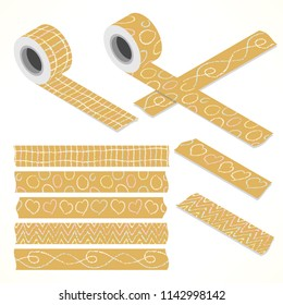 Set of five washi tapes; pastel color chalk on packaging paper with hearts, lines, zigzag and circles (plain top view and isometric view with rolls)