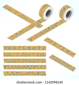 Set of five washi tapes; pen doodle drawings on packaging paper of fruit, vegetables, oraments and various items (plain top view and isometric view with rolls)