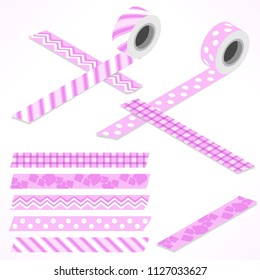 Set of five washi tapes; pink tones and white with checked pattern, zigzag, cubes, dots and lines (plain top view and isometric view with rolls)