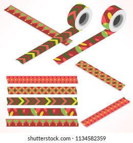 Set of five washi tapes; red, green and yellow with dots, ornaments, checked patttern and lines (plain top view and isometric view with rolls)