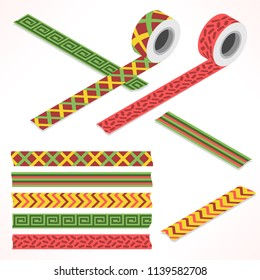 Set of five washi tapes; red, green and yellow with checked pattern, zigzag and spiral lines (plain top view and isometric view with rolls)