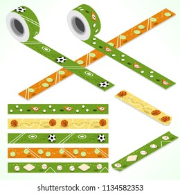 Set of five washi tapes, sport themes: soccer, golf, tennis, basketball and baseball (plain top view and isometric view with rolls)