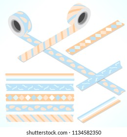 Set of five washi tapes; white, blue and orange tones with cubes, stripes, dots and lines (plain top view and isometric view with rolls)