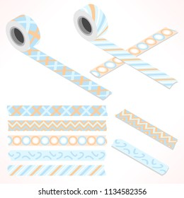 Set of five washi tapes; white, orange and blue tones with zigzag, checked pattern, dots and lines (plain top view and isometric view with rolls)