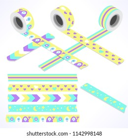 Set of five washi tapes; yellow, turquoise, white and violet with cute aliens, moon and stars, hearts and lines (plain top view and isometric view with rolls)