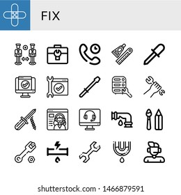 Set of fix icons such as Band aid, Support, Toolbox, Technical Support, Glue, Screwdriver, Service, Maintenance, Wrench, Leak, Paint tools, Broken pipe , fix