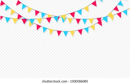 Set of flag garlands. Carnival garland with flags. Decorative colorful party pennants for birthday celebration, festival and fair decoration. Holiday background with hanging flags.