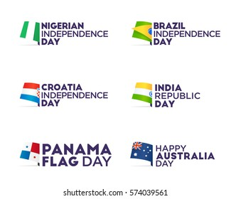 Set Flag theme holiday - Independence Day, Flag Day, Respublic Day. Logo, emblem and label. Vector.