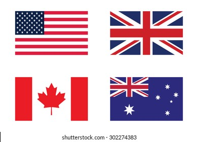 Set of flag : United states of America , United Kingdom , Canada and Australia