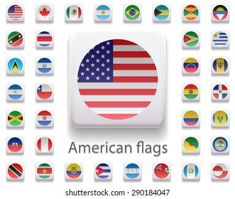Set of flags of the Americas. Flag in the form of computer button. 3 d. All elements and textures are individual objects. Each image has a name. Collection. Illustration. Vector. Icon