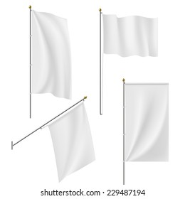 Set of flags and banners isolated on white background