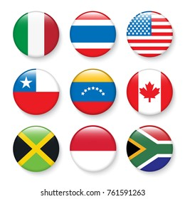 Set of flags in botton stlye,vector design element eps10 illustration