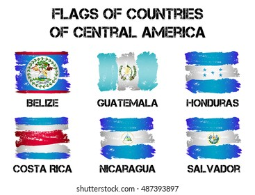 Set of flags of Central America countries from brush strokes in grunge style isolated on white background. Vector illustration