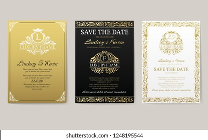 Set of flags with classic strict ornaments. Banners with design for business. Certificate pages for successful people. Luxurious template for decorating invitations