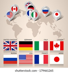 Set of Flags Countries Members of the G8 group, flat vector illustration